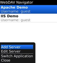 WebDAV Nav for Blackberry, server menu